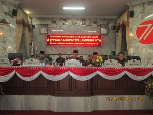 DPRD Lampung Utara Gelar Rapat Paripurna Pandangan Fraksi Tentang KUA PPAS 2017