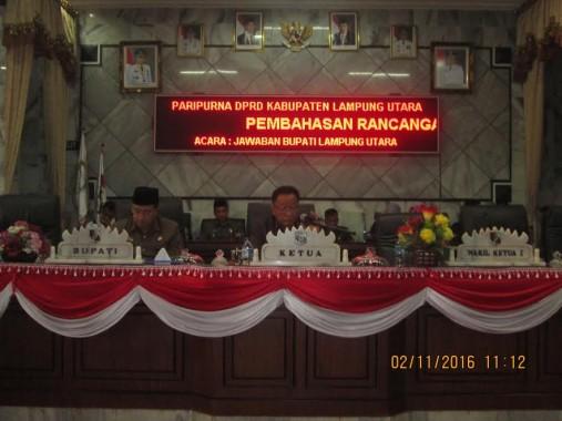 DPRD Lampung Utara Gelar Rapat Paripurna Jawaban Bupati Atas Pandangan Fraksi Mengenai KUA PPAS APBD 2017