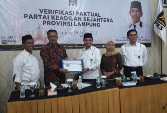KPU Lampung Lakukan Verifikasi Faktual DPW PKS