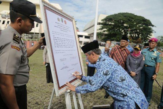 Forkopimda Provinsi Lampung Tanda Tangani Deklarasi Netralitas TNI, Polri, dan ASN