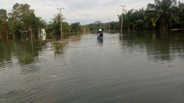 Direndam Banjir Satu Meter, Jalan Provinsi di Kecamatan Bandarsurabaya Lamteng Sulit Dilalui
