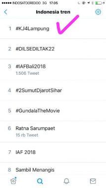 PILGUB LAMPUNG: Tagar #KJ4Lampung Trending Topic Nasional