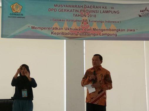 Kadis Sosial Lampung Buka Musda Gerkatin Lampung