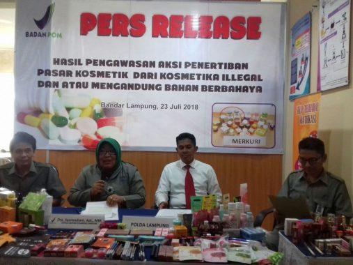 BBPOM Bandar Lampung Temukan Ratusan Produk Kosmetik Berbahaya