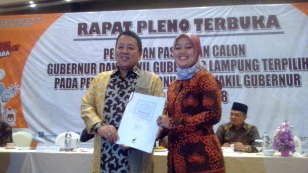 Arinal-Nunik Ditetapkan KPU Lampung, Paslon Lain Absen