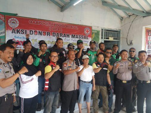 Ratusan Ojek Online Donor Darah Milad Ke-1 GASPOOL Lampung