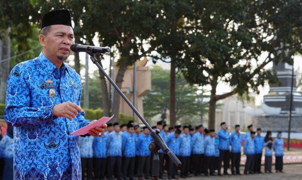 Staf Ahli Keuangan Pemkab Lampung Selatan Pimpin Apel Bulanan