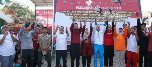 Peringati HUT Bhayangkara Ke-73, Polres Lampung Selatan Deklarasi Anti Kerusuhan