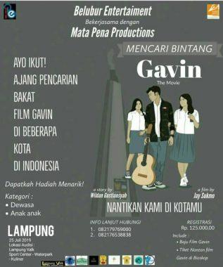 Film Gavin Bakal Tayang di Bioskop Indonesia, Talenta Lampung yang Mau Ikutan Casting Baca Ini Ya