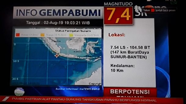 Gempa 7,4 SR Berpotensi Tsunami, Warga Sejumlah Daerah di Lampung Diminta Waspada