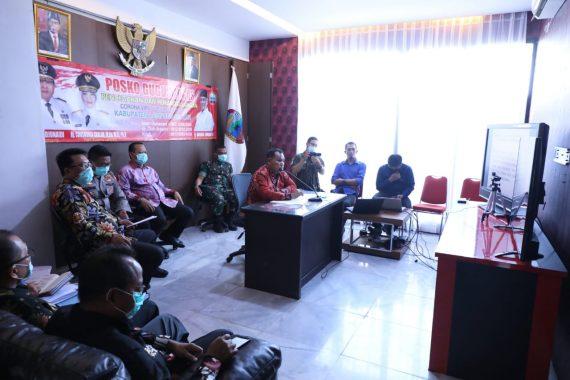 Konferensi Video dengan Gubernur Lampung, Nanang Ermanto Laporkan Penanganan Covid-19 di Lampung Selatan
