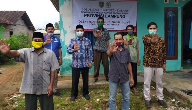 Sosialisasi Perda di Ngestirahayu Punggur Lampung Tengah, Mufti Salim Juga Edukasi Warga Cegah Covid-19