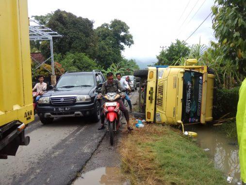 Colt Diesel Muatan Udang Terbalik di Jalan Raya Pekon Kanoman Kecamatan Semaka