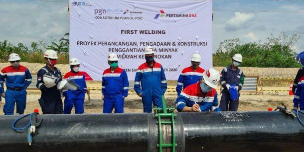 Dukung Pengelolaan WK Rokan Oleh Pertamina, Pertagas Lakukan First Welding Proyek Pipa Minyak