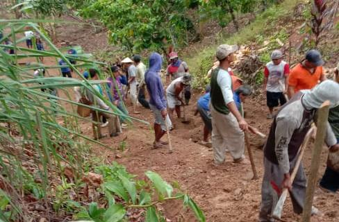 Warga Delapan Pekon di Pematang Sawa Tanggamus Gotong Royong Bangun Jalan Agar Listrik Bisa Masuk