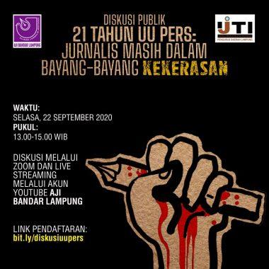 Besok, AJI-IJTI Lampung Gelar Diskusi Publik 21 Tahun UU Pers