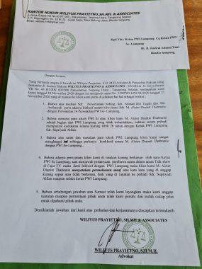 Beredar Surat Permintaan Maaf ADT, PWI Lampung Respon Baik
