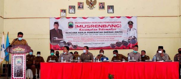 Plh Bupati Lampung Selatan Buka Musrenbang Kecamatan Sidomulyo