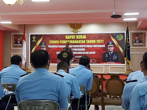 Dua Pejabat Rutan Kotaagung Ikuti Rakernis di Kanwil Kemenkumham Lampung