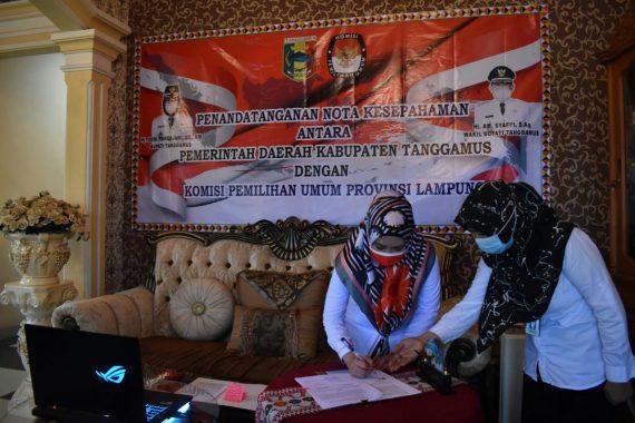 Bupati Tanggamus Tandatangani MoU DP3 dengan KPU Lampung